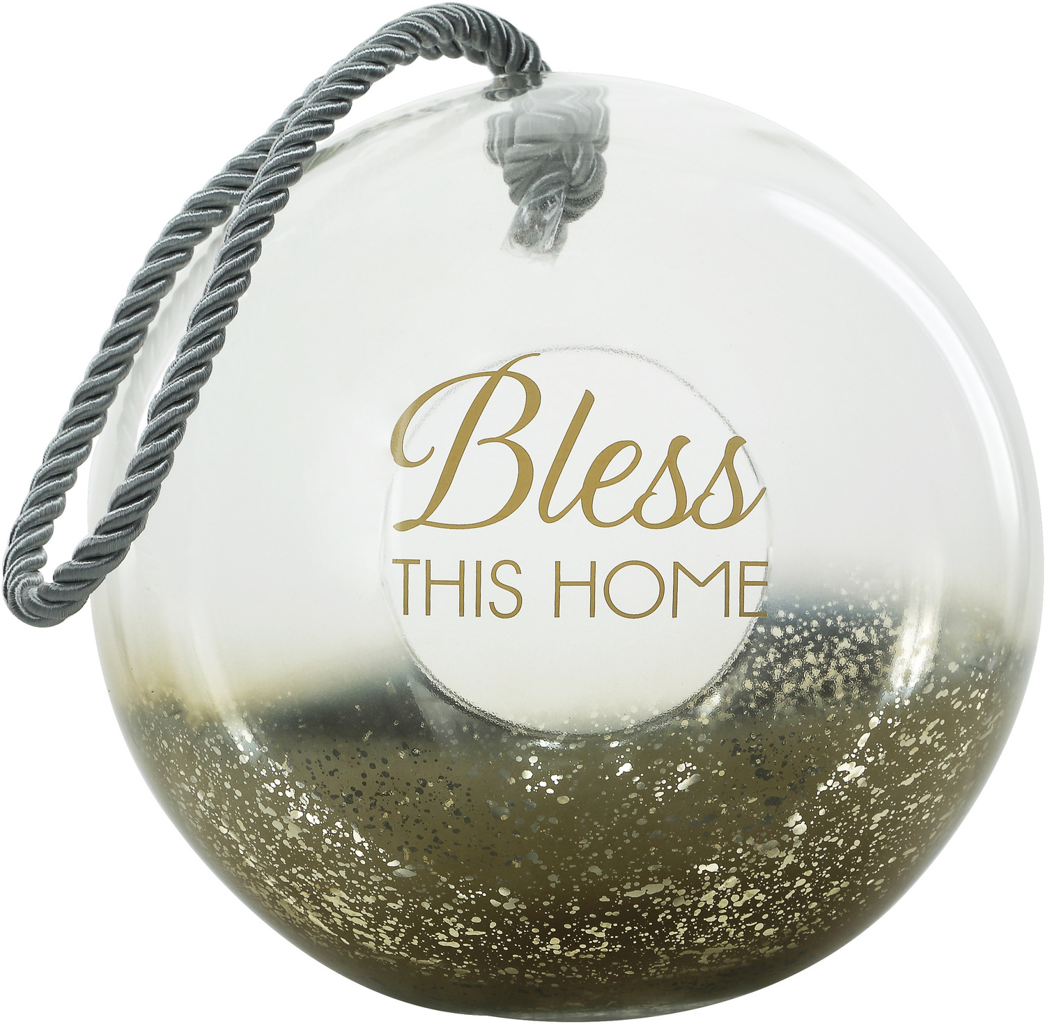 "Bless by Lots of Lanterns - Bless - 9.5"" Gold Glass Lantern"