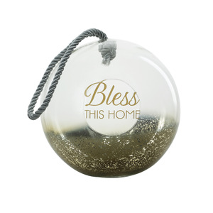"Bless by Lots of Lanterns - 9.5"" Gold Glass Lantern"