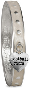 Football Mom by Mom Love - White Enamel Bangle Bracelet with Heart Charm