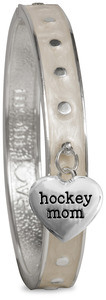 Hockey Mom by Mom Love - White Enamel Bangle Bracelet with Heart Charm