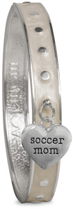 Soccer Mom by Mom Love - White Enamel Bangle Bracelet with Heart Charm