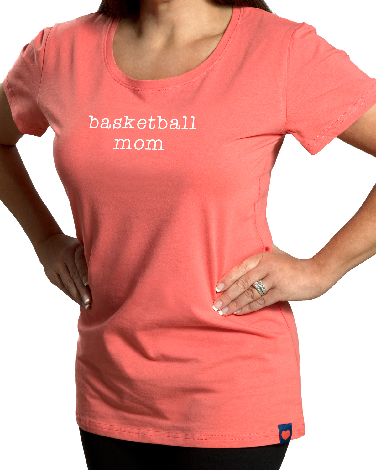 Basketball Mom by Mom Love - Basketball Mom - Small Coral T-Shirt