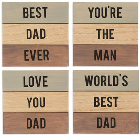"Dad by Man Made - 4.5"" - 4 Piece Coaster Set"