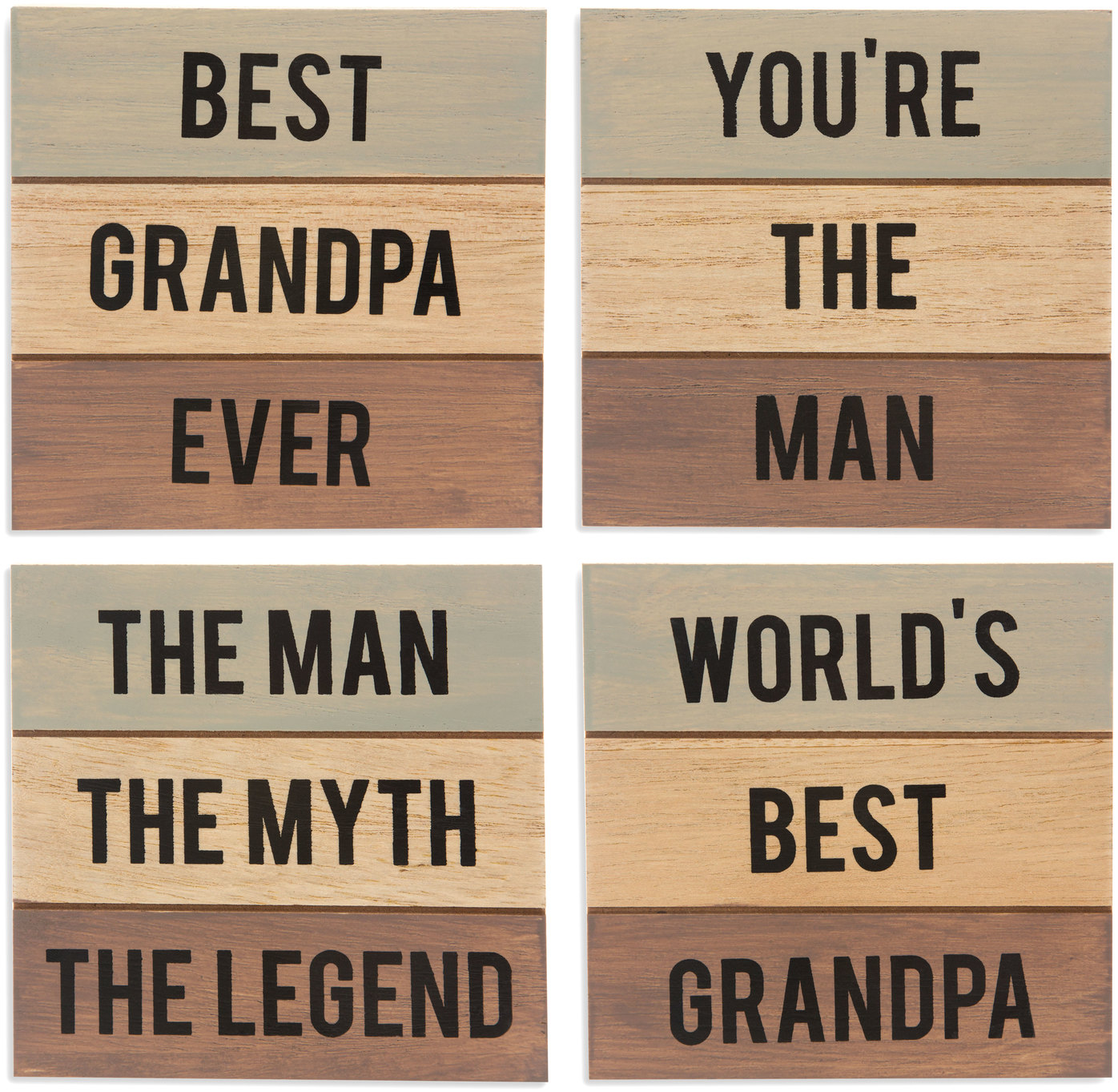 "Grandpa by Man Made - Grandpa - 4.5"" - 4 Piece Coaster Set"