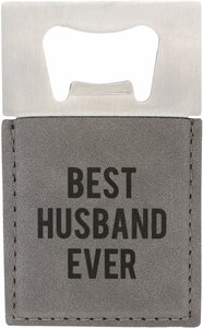 "Husband by Man Made - 2"" x 3.5"" Bottle Opener Magnet"