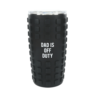 Dad Off Duty by Man Made - 20 oz Travel Tumbler with 3D Silicone Wrap