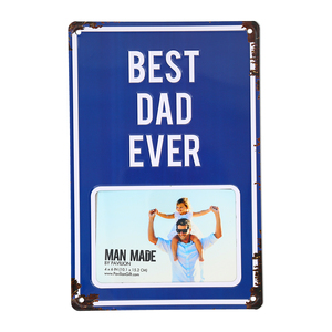 "Best Dad by Man Made - 8"" x 11.75"" Tin Frame (Holds 6"" x 4"" Photo)"