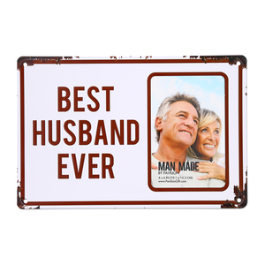 "Best Husband by Man Made - 11.75"" x 8"" Tin Frame (Holds 4"" x 6"" Photo)"