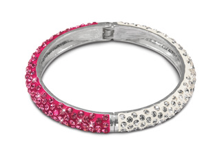 "White & Fuchsia Bracelet by H2Z - Jewelry - 2.64"" White and Pink Crystal Bangle Bracelet"