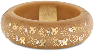 Taupe Fleur de Lis  by H2Z - Crystal Bangle Bracelets and Earrings - Resin Bangle Bracelet with Tan, Gold designs, and Clear Crystals