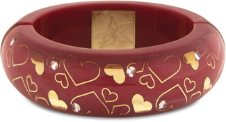 Pink Heart by H2Z - Crystal Bangle Bracelets and Earrings - Resin Bangle Bracelet with Red, Gold designs and Clear Crystals