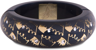 Navy Crown by H2Z - Crystal Bangle Bracelets and Earrings - Resin Bangle Bracelet with Navy, Gold Designs, and Clear Crystals