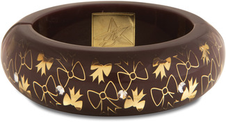 Brown Bow  by H2Z - Crystal Bangle Bracelets and Earrings - Resin Bangle Bracelet
