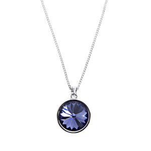 "Liza Tanzanite  by H2Z Made with Swarovski Elements - 16.5""-18.5"" Necklace with 0.625""  Crystal Pendant made from Swarovski Elements"