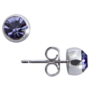 "Liza Tanzanite  by H2Z Made with Swarovski Elements - 0.325"" Crystal  Stud Earring made from Swarovski Elements"