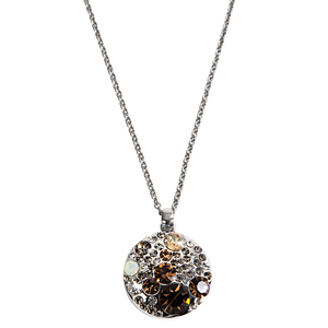 "Liza Earthtone  by H2Z Made with Swarovski Elements - 16""-18"" Necklace with 0.875"" Crystal Pendant made from Swarovski Elements"