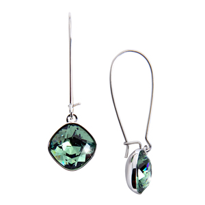 "Isabel Erinite by H2Z Made with Swarovski Elements - 1.875"" Dangle Earring with 0.5"" Crystal made from Swarovski Elements"