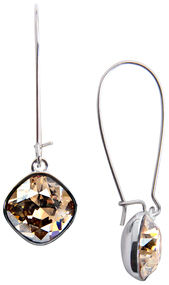"Isabel Crystal Golden Shadow by H2Z Made with Swarovski Elements - 1.875"" Dangle Earring with 0.5"" Crystal made from Swarovski Elements"
