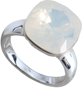 "Isabel White Opal by H2Z Made with Swarovski Elements - Size 7 Ring with 0.5"" Crystal made from Swarovski Elements"