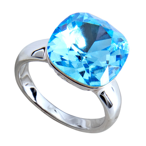 "Isabel Aquamarine by H2Z Made with Swarovski Elements - Size 8 Ring with 0.5"" Crystal made from Swarovski Elements"