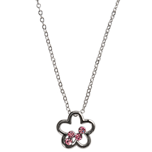 "Lily Light Rose  by H2Z Made with Swarovski Elements - 16""-18"" Necklace with 0.625"" Crystal Pendant made from Swarovski Elements"