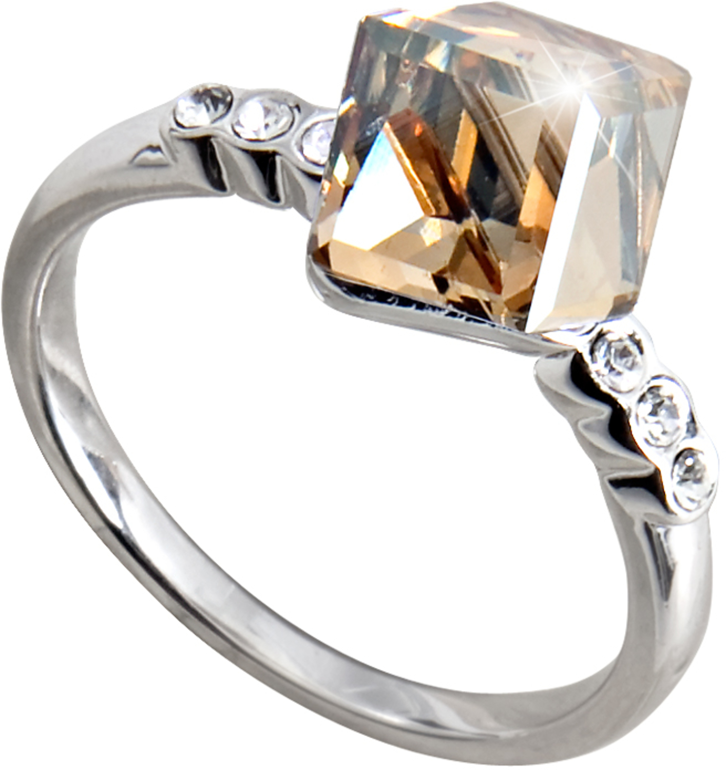 "Nicole Crystal Golden Shadow by H2Z Made with Swarovski Elements - Nicole Crystal Golden Shadow - Size 7 Ring with 0.25"" Crystal made from Swarovski Elements"