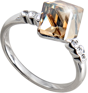 "Nicole Crystal Golden Shadow by H2Z Made with Swarovski Elements - Size 7 Ring with 0.25"" Crystal made from Swarovski Elements"