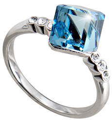 "Nicole Aquamarine by H2Z Made with Swarovski Elements - Size 8 Ring with 0.25"" Crystal made from Swarovski Elements"