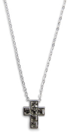 "Nina Black Diamond by H2Z Made with Swarovski Elements - 16""-18"" Necklace with 0.5"" Crystal Cross  made from Swarovski Elements"