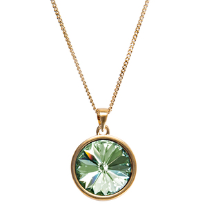 "Liza Chrysolite by H2Z Made with Swarovski Elements - 16.5""-18.5"" Necklace with 0.625""  Crystal Pendant made from Swarovski Elements"