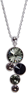 "Liza Blacktie by H2Z Made with Swarovski Elements - 16.5""-18.5"" Necklace with 1.5"" Crystal Pendant made from Swarovski Elements"