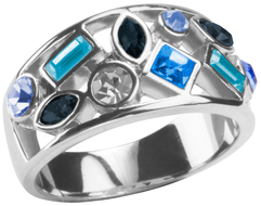 "Prisma Indigo by H2Z Made with Swarovski Elements - Size 6 Ring with 0.375"" Swarovski Crystal Assortment"