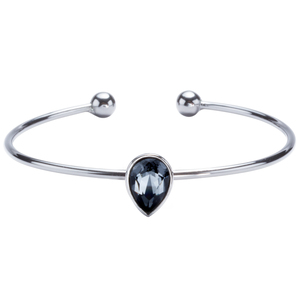"Black Diamond Tear Drop Cuff by H2Z Made with Swarovski Elements - 6.5"" Swarovski Crystal Bangle Bracelet"