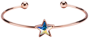 "Crystal Aurore Boreale Star Cuff by H2Z Made with Swarovski Elements - 6.5"" Swarovski Crystal Bangle Bracelet"