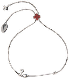 "Clover Maroon by H2Z Made with Swarovski Elements - 2"" - 2.75"" Drawstring Bracelet"
