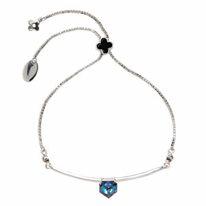 "Clover Black by H2Z Made with Swarovski Elements - 2"" - 2.75"" Drawstring Bracelet"