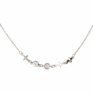 "Clover Silver by H2Z Made with Swarovski Elements - 18"" - 19"" Necklace"