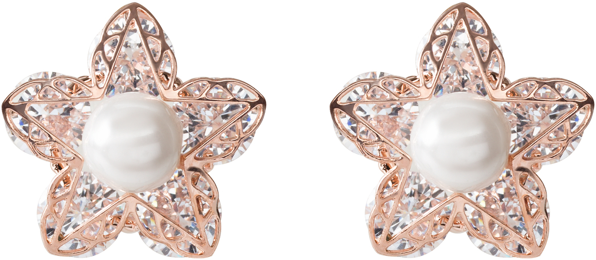 "Rosa Pink Petal by H2Z Made with Swarovski Elements - Rosa Pink Petal - .5""  Stud Earring"