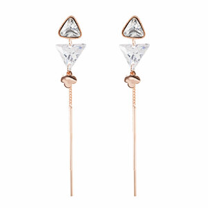 "Rosa Crystal Drop by H2Z Made with Swarovski Elements - 3.25"" Dangle Earring"