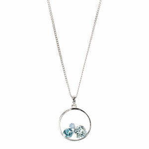 "Light Azure by H2Z Made with Swarovski Elements - 16""-18"" Hoop Pendant"