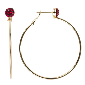 Ruby Large by H2Z Made with Swarovski Elements - 5 cm Studded Hoop Earring