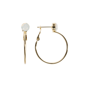 White Opal Small by H2Z Made with Swarovski Elements - 3 cm Studded Hoop Earring