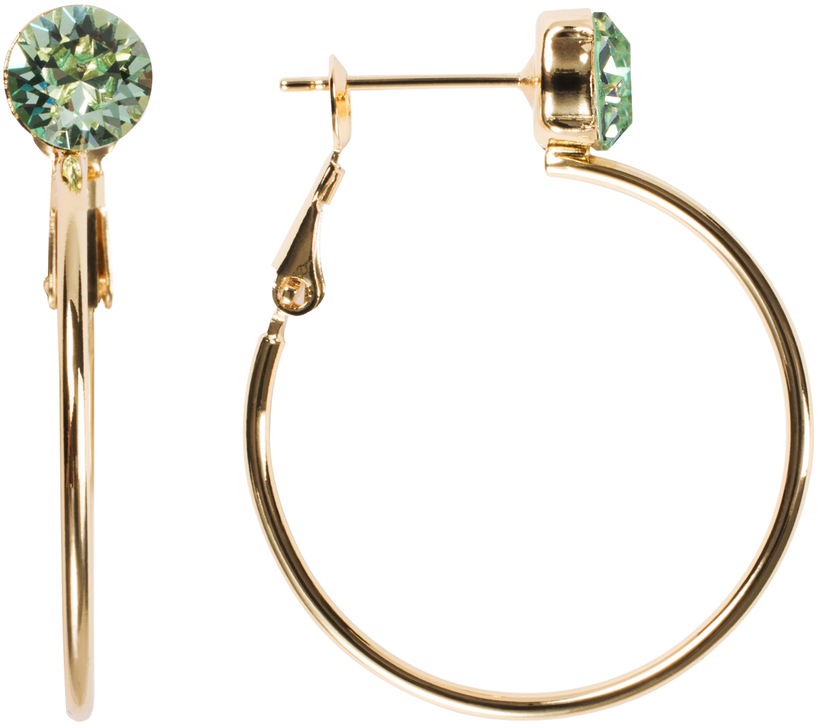 Chrysolite Small by H2Z Made with Swarovski Elements - Chrysolite Small - 3 cm Studded Hoop Earring