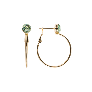 Chrysolite Small by H2Z Made with Swarovski Elements - 3 cm Studded Hoop Earring