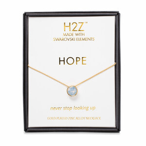 "Hope Air Blue Opal by H2Z Made with Swarovski Elements - 16"" - 17.5"" Necklace"