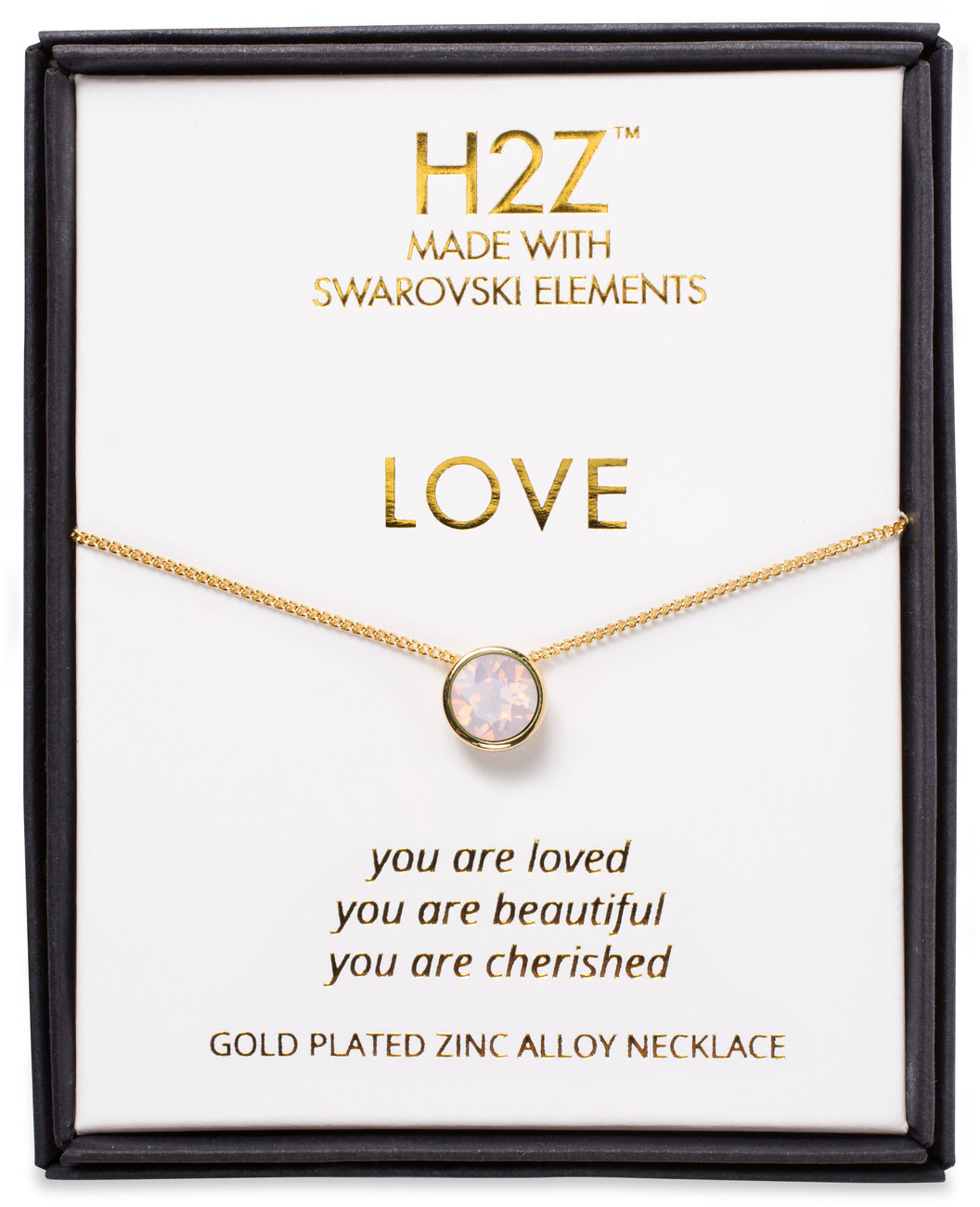 "Love Rose Water Opal by H2Z Made with Swarovski Elements - Love Rose Water Opal - 16"" - 17.5"" Necklace"