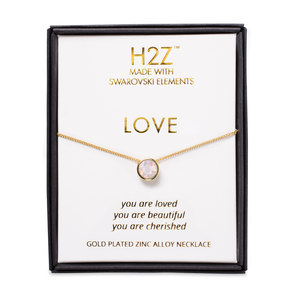 "Love Rose Water Opal by H2Z Made with Swarovski Elements - 16"" - 17.5"" Necklace"