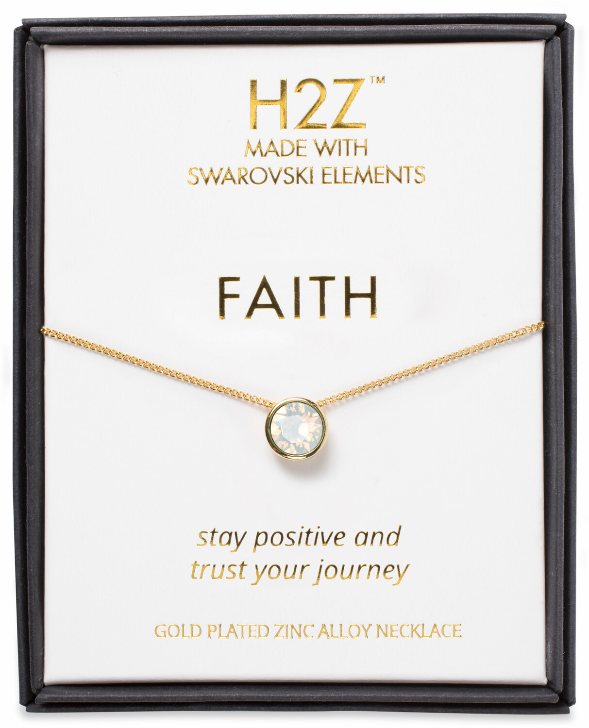"Faith White Opal by H2Z Made with Swarovski Elements - Faith White Opal - 16"" - 17.5"" Necklace"