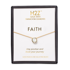 "Faith White Opal by H2Z Made with Swarovski Elements - 16"" - 17.5"" Necklace"
