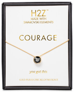 "Courage Jet by H2Z Made with Swarovski Elements - 16"" - 17.5"" Necklace"